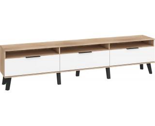TV stolík Sven SVN-12 - sonoma svetlá / biely lesk