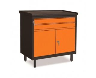 Dielenská skrinka s dvierkami a zásuvkami SW01G/2C - grafit / oranžová