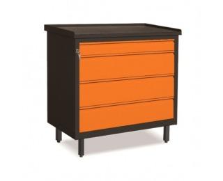 Dielenská skrinka so zásuvkami na nožičkách SW01G/2F - grafit / oranžová