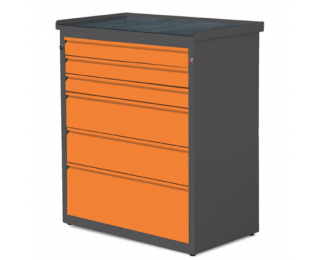 Dielenská skrinka so zásuvkami SW01G/2W1 02 - grafit / oranžová