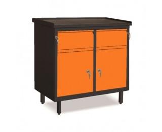 Dielenská skrinka s dvierkami a zásuvkami SW01G/BB - grafit / oranžová