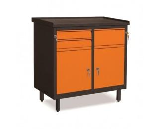 Dielenská skrinka s dvierkami a zásuvkami SW01G/CB - grafit / oranžová