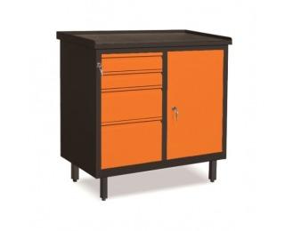 Dielenská skrinka s dvierkami a zásuvkami SW01G/EA - grafit / oranžová