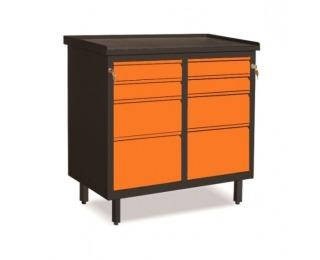 Dielenská skrinka so zásuvkami na nožičkách SW01G/EE - grafit / oranžová