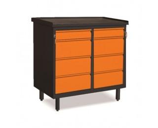 Dielenská skrinka so zásuvkami na nožičkách SW01G/FF - grafit / oranžová