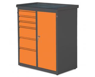 Dielenská skrinka s dvierkami a zásuvkami SW01G/W1 37 - grafit / oranžová