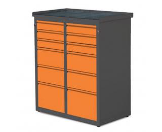 Dielenská skrinka so zásuvkami SW01G/W1 - grafit / oranžová