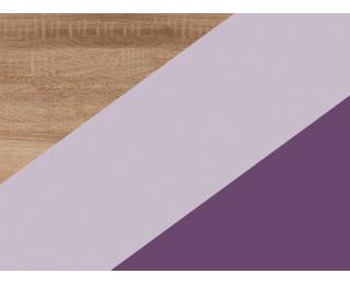Nočný stolík Kitty KIT-12 - sonoma svetlá / levanduľa / fialová