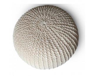 Pletená taburetka Taman Typ 2 - smotanová / béžová