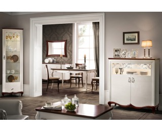 Rustikálna jedáleň Milano - biely vysoký lesk / mahagón