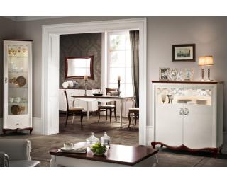 Rustikálna jedáleň Milano - biely vysoký lesk / orech Milano