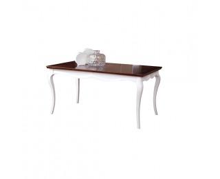 Rustikálny jedálenský stôl Milano MI-S1 - biely vysoký lesk / mahagón
