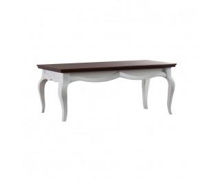 Rustikálny konferenčný stolík Milano MI-S2 - biely vysoký lesk / mahagón