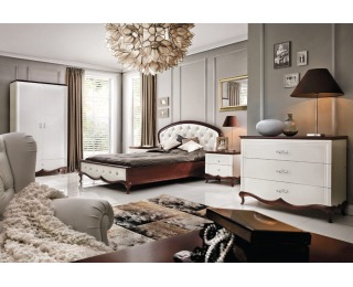 Rustikálna spálňa Milano - biely vysoký lesk / mahagón
