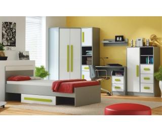 Študentská izba Piere - sivá / biela / zelená