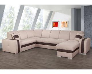 Rohová sedačka na mieru s rozkladom Rosana L/P - svetlohnedá / čokoládová