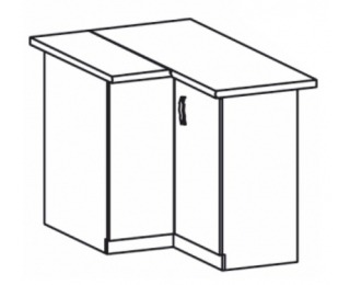 Dolná rohová kuchynská skrinka Royal D90N - biela sosna nordická / dub divoký