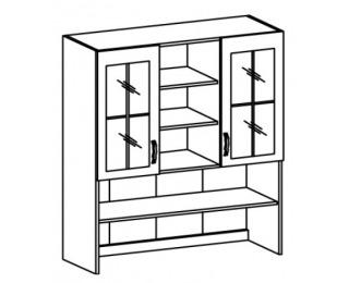 Kuchynská vitrína (nadstavba) Royal K120 - biela sosna nordická / dub divoký