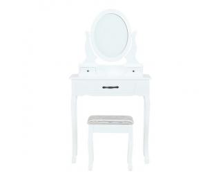 Toaletný stolík s taburetkou Linet New - biela / strieborná / zlatá