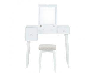 Toaletný stolík s taburetkou Marvel - biela / hnedá