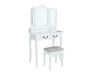 Toaletný stolík s taburetkou Regina New - biela / strieborná / zlatá