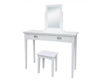 Toaletný stolík s taburetkou Resina - biela