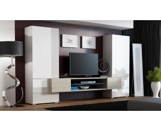 Obývacia stena Tori - biela / biely lesk / dub sonoma