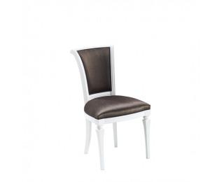 Jedálenská stolička Torino TO-15 - tmavohnedá (B3 5064) / biely vysoký lesk