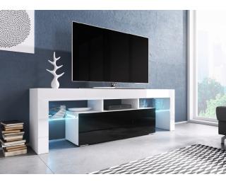 TV stolík Toro 138 - biela / biely lesk / čierny lesk