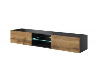 TV stolík na stenu Livo 180W - antracit / dub wotan