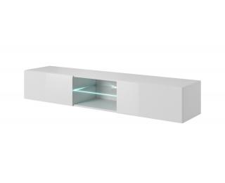 TV stolík na stenu Livo 180W - biela / biely lesk