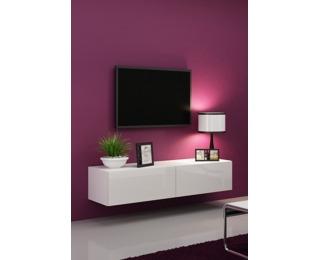 TV stolík na stenu Vigo 140 - biela / biely lesk