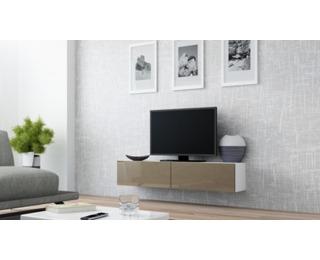 TV stolík na stenu Vigo 140 - biela / latte lesk