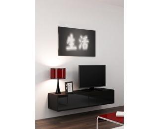 TV stolík na stenu Vigo 140 - čierna / čierny lesk