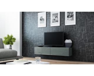 TV stolík na stenu Vigo 140 - sivá / sivý lesk
