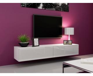 TV stolík na stenu Vigo 180 - biela / biely lesk