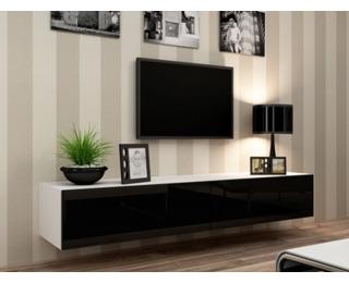 TV stolík na stenu Vigo 180 - biela / čierny lesk