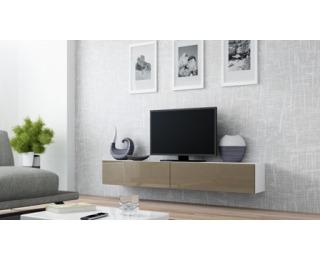 TV stolík na stenu Vigo 180 - biela / latte lesk