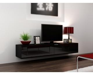 TV stolík na stenu Vigo 180 - čierna / čierny lesk