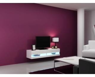 TV stolík na stenu Vigo New 140 - biela / biely lesk