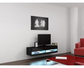 TV stolík na stenu Vigo New 140 - čierna / čierny lesk
