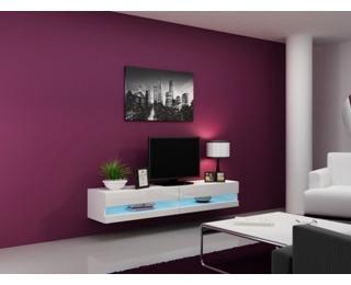 TV stolík na stenu Vigo New 180 - biela / biely lesk