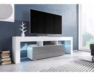 TV stolík Toro 138 - biela / biely lesk / sivý lesk