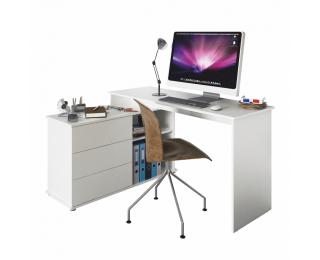 Univerzálny rohový PC stôl Terino L/P - biela