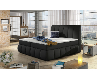 Čalúnená manželská posteľ s úložným priestorom Vareso 180 - čierna (Sawana 14)