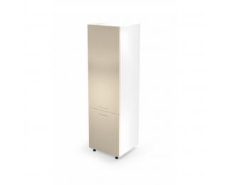 Kuchynská skrinka na vstavanú chladničku Vento DL-60/214 - biela / béžový vysoký lesk