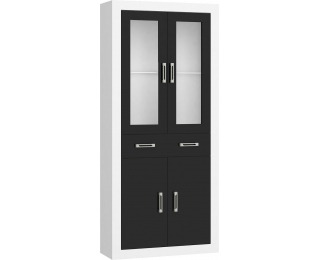Regál Verin VRN-18 - biela / čierny lesk
