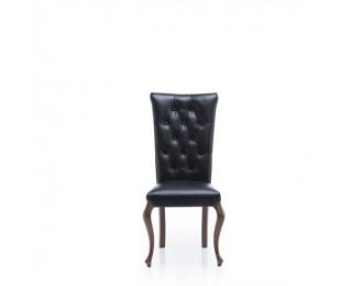 Rustikálna jedálenská stolička Krzeslo V - čierna / hnedá (Cognac 18)