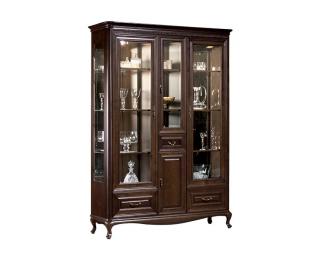 Rustikálna vitrína s osvetlením Verona V-W3 - hnedá