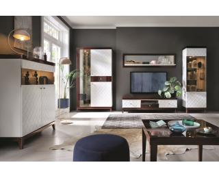 Obývacia izba Via - biely mat / mahagón vysoký lesk